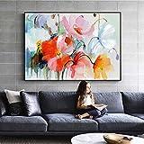 ganlanshu Rahmenloses GemäldeWasserfarben-Blumenölgemälde auf Wandleinwandabstraktion für...
