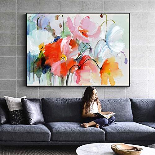ganlanshu Rahmenloses GemäldeWasserfarben-Blumenölgemälde auf Wandleinwandabstraktion für Wohnzimmerdekoration30X45cm