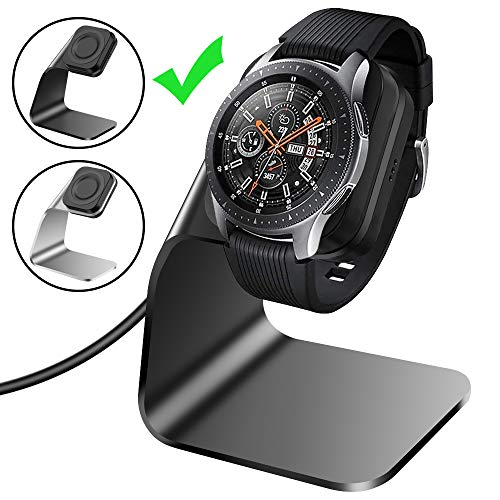 CAVN Compatible with Samsung Galaxy Watch Charger 42mm 46mm Gear S3 Charger Dock Stand, Replacement Aluminum Charging Cable Cord Station Cradle Base with 4.2ft USB Accessory (Not for Active) (Black)