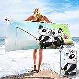 Decor Sandproof Beach Towel Animated Cute Baby Panda Bear Couple Love Fishing Painting Bath Towel With Bag, Microfiber Throw Towel Quick Dry Eco-Friendly Beach Blanket For Fitness 31.5'x63'