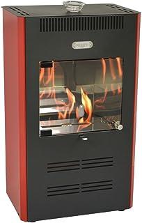Estufa de bioetanol de 3.000W ventilada, con mando a distancia, color burdeos - Calefacción Ruby Unika