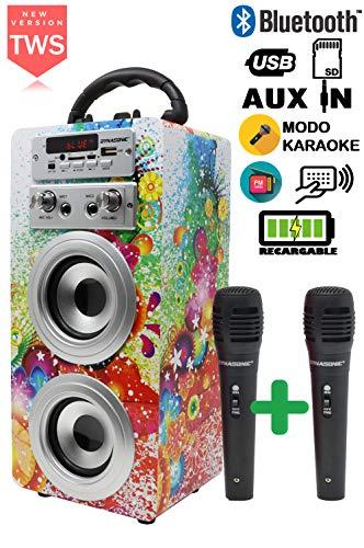 DYNASONIC - Altavoz Bluetooth Portatiles con Karaoke, Modelo 025-1 10W | 2 Micrófonos incluidos, Radio, Lector USB y SD (Modelo 1, 2 Micrófonos)