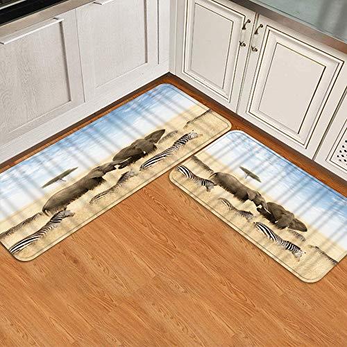 Juego de alfombrillas de cocina de 2 piezas,Elefante adulto y joven Cebras Lone Acacia Tr, Alfombra antideslizante con respaldo para alfombra de cocina, lavable y duradera, alfombra de corredor