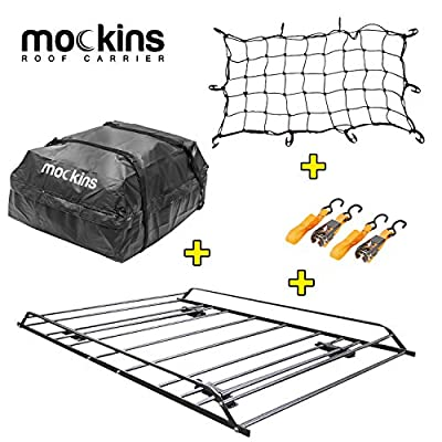 """Mockins Roof Rack Rooftop Cargo Carrier with Waterproof Cargo Bag and Cargo Net   The Steel Luggage Rack is 57"""" Long X 37.7"""" Wide X 4.3"""" Tall with A Hauling Weight of 200 Lbs"""