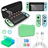 Accessories Kit Bundle for Switch,12 in 1 Essential Protection Kits with Carrying Case, Game Storage Case, Screen Protector, Silicone Cover Skin for Joy Con & Type C Charging Cable for Nintendo Switch