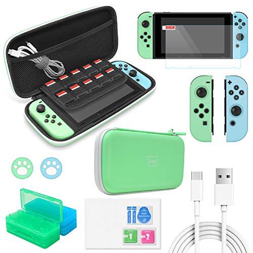FYOUNG 12 in 1 Zubehör Set für Nintendo Switch, Tragbare Tasche und Displayschutzfolie, Joy Con Silikonhülle und Spiele Aufbewahrung - Hellgrün
