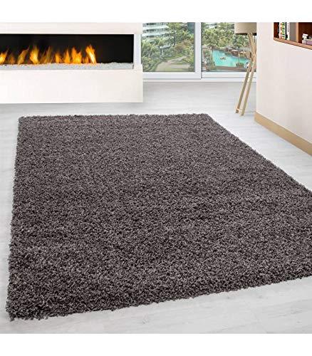 Teppich Hochflor Wohnzimmer Langflor Shaggy Unifarbe vers. Farben und Größen - Taupe, 120x120 cm Rund