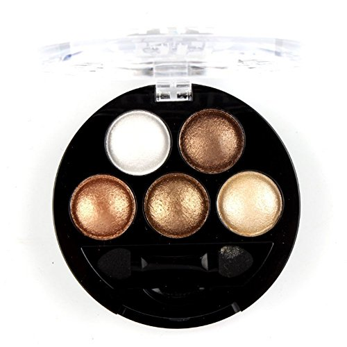 Mallofusa 5 Colors Eye Shadow Palette Powder Metallic Shimmer Eyeshadow Palette (Golden Frenzy)...