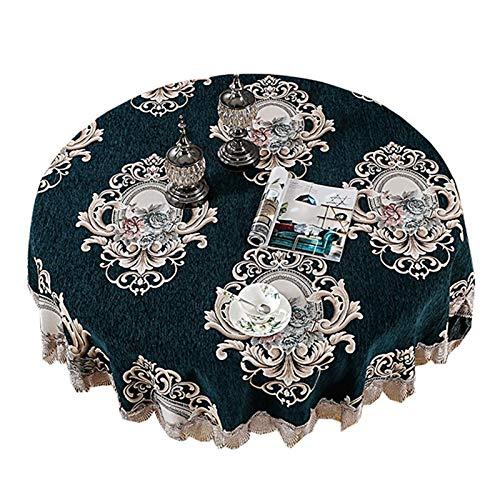 Funda para silla de comedor, diseño chino europeo, para decoración de salón, mesa de café, mantel redondo (color: plata, especificación: redondo 195 cm)