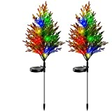 Solar Garden Lights Tree Outdoor 2PCS, Solar Yard Decoration Lights, Solar Ground Lights Waterproof, Solar Power Flower Lights Multi-Color Flickering Pine Lights for Patio Lawn Pathway Cemetery