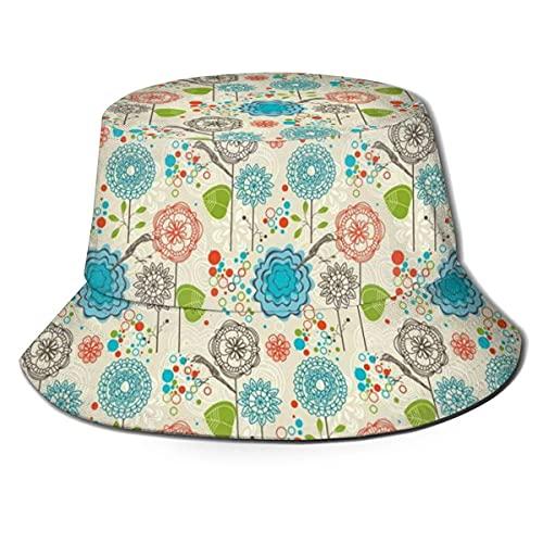 Eimer Hüte Retro Doodle stilvolle Blumenfeld Löwenzahn Gänseblümchen Vögel Kreise fröhliches Bild Vintage Visier Outdoor Cap für UV-Schutz