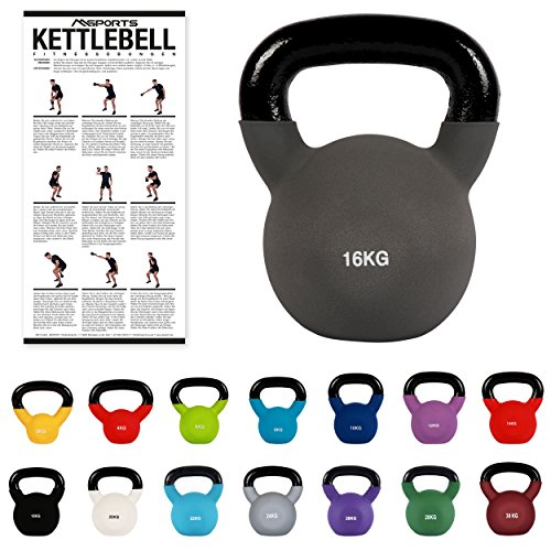 MSPORTS Kettlebell Professionale 16 kg | Ghisa Revestimento in Neoprene | incl. Workout PDF | Antracite