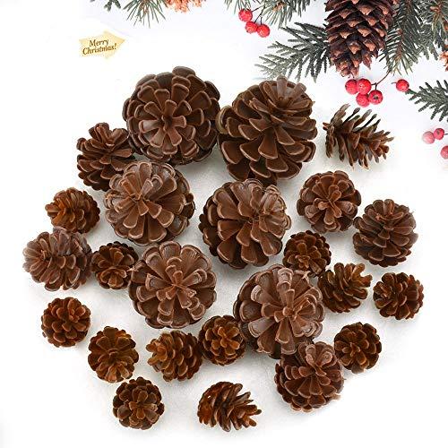 FAVENGO 24 Pcs Piñas Decoradas para Navidad Piñas Navideñas Decoradas Adornos de Conos de Pino Plástico Piñas Artificiales para Decoración de Árbol de Navidad Año Nuevo Artesanía Ornamento de Casa