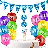 Set de Decoraciones de Cumpleaños de 30 Piezas Incluye Globos de Látex Coloridos de 12 Pulgadas con Cinta, Vela de Cumpleaños, Insignia de Cumpleaños y Banderín de Happy Birthday (7 Años)