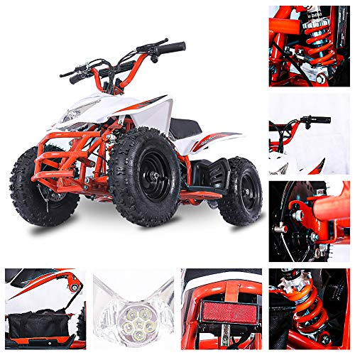 Fit Right 2020 Titan Kids 24V Mini Quad ATV, Dirt Motor Electric Four Wheeler Parental Speed Control, with 350W Motor Power Reserve, Large Tires & Wide Suspension (Orange)