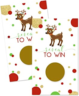 Christmas Reindeer Scratch Off Party Game Cards (28 Pack)