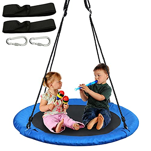 """40"""" Blue Saucer Tree Swing Set 900D Heavy-Duty Waterproof Oxford Fabric Platform Swing Seat with Carabiners and Adjustable Ropes for Kids Playground Outdoor Activity Backyard Fun Daily Exercise"""