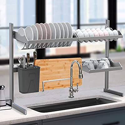 Dish Rack Over Sink, 2-Tier Carbon Steel Dish Drying Rack Kitchen Organizer Over The Sink Shelf Storage Rack with Utensil Holder Hooks for Kitchen Counter Large by