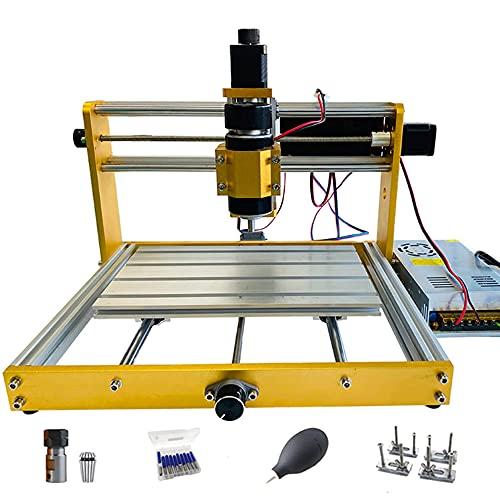 máquina de grabado,CNC de 3 ejes de alta precisión kit de máquina grabadora láser de escritorio con husillo de 500 W marco de metal completo,corte de plástico acrílico resina de metal (15 W)