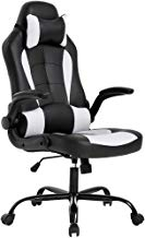 BestOffice PC Gaming Chair Ergonomic Office Chair Cheap Desk Chair with Lumbar Support Flip Up Arms Headrest PU Leather Executive High Back Computer Chair for Adults Women Men, Black and White