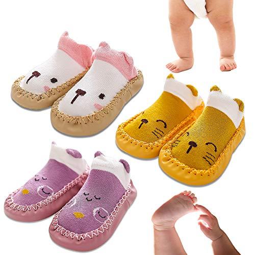 LLMZ Lauflernschuhe 3 Paare Schuhe mädchen sockenschuhe Krabbelschuhe Jungen rutschfeste Bodensocken aus reinem Baumwollgürtel