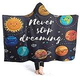 SUGARHE Manta con Capucha,Decir Espacio Exterior Planetas Cúmulo Estelar Sistema Solar Luna Cometas Sol Cosmos Ilustración,Suave Siesta ponible Mantas de Viaje/Vacaciones/Casual 60x50