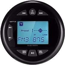 Herdio 4 Inches Mp3 USB AM FM Compatible Weather-Proof Marine & UTV Gauge Stereo Bluetooth Radio Receiver Built-in Amplifier-Black