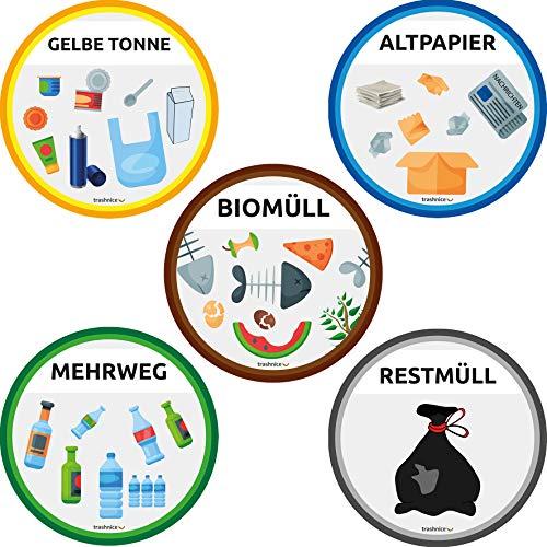 trashnice Mülltrennung Aufkleber 5er Pack Mülltonne Abfalleimer Set Abfall Abfalleimer-Aufkleber 95 mm, Gelbe Tonne, Biomüll, Papier, Mehrweg und Restmüll