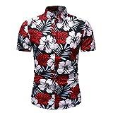 Henley Camisa Hombre Moda Personalidad Casual Vacaciones Hombre Hawaiana Camisa Verano Moderno Slim Fit Stretch Hombre Playa Shirt Urbana Novedad Manga Corta E-Red(B) 3XL