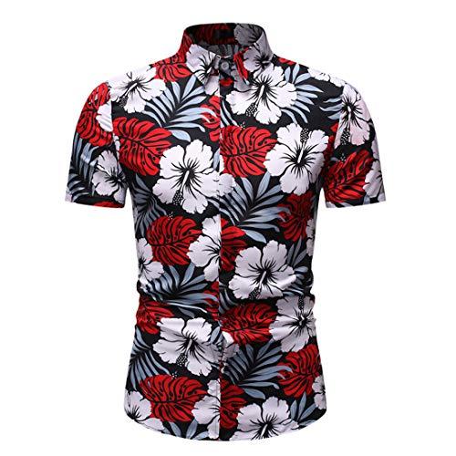 Tradizionale Camicia Uomo Estate Moda Stampa vestibilità Slim Uomo Casual Camicie Pulsanti Casual Maniche Corte Shirt Comodo Hawaii Affari Uomo Spiaggia Shirt E-Red(B) XL