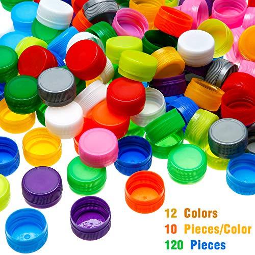 120 Pieces Plastic Bottle Caps Protection Bottle Lids Craft Bottle for Kids Craft Projects, Craft Scrapbooks (12 Colors)