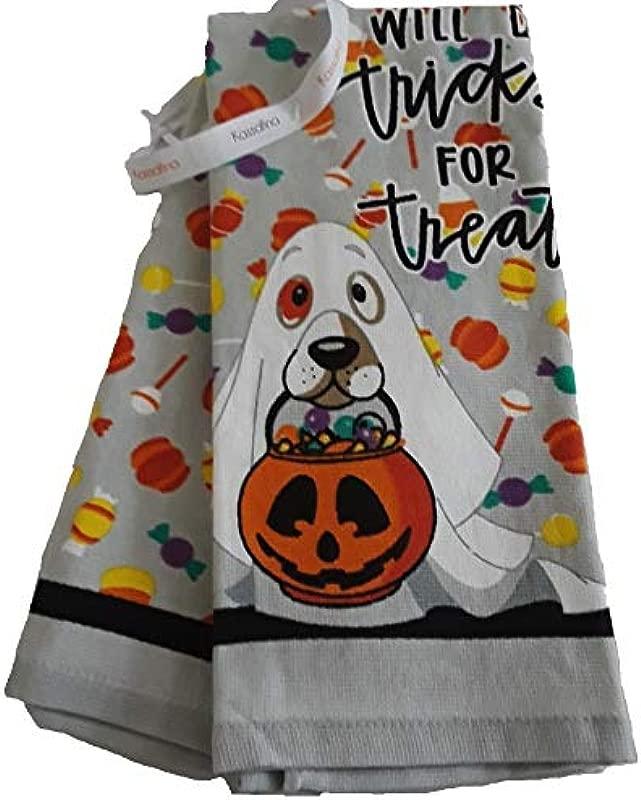 Kassafina Halloween Dog Will Do Tricks For Treats Kitchen Dish Towel
