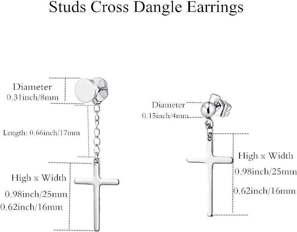 4 Pairs Stainless Steel Cross Dangle Hinged Hoop Earrings for Men Women Huggie Drop Earrings