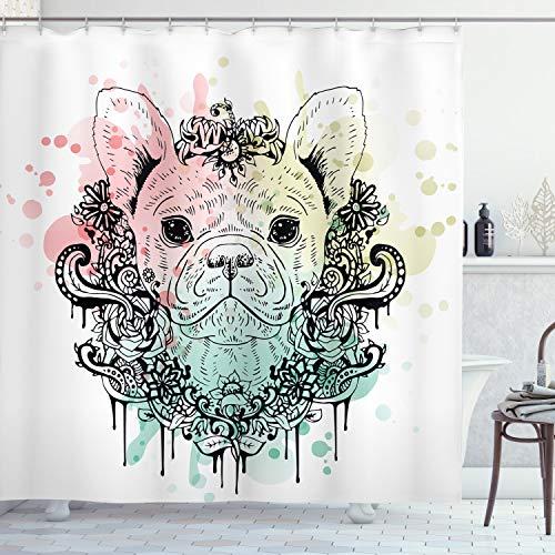 ABAKUHAUS Tier Duschvorhang, Französische Bulldogge Blumen, mit 12 Ringe Set Wasserdicht Stielvoll Modern Farbfest & Schimmel Resistent, 175x200 cm, Hellgrün Hellrosa