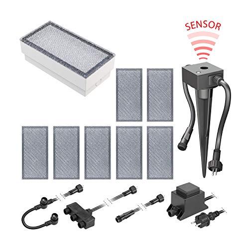 ledscom.de LED Pflaster-Stein Gorgon Boden-Einbauleuchte mit Dämmerungssensor für außen, 20x10cm, 12V, kalt-weiß 8er Set