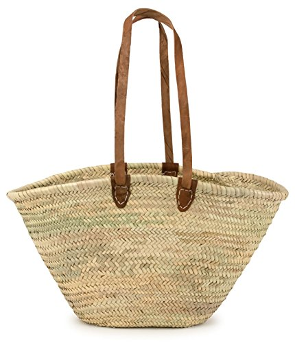 Moroccan Straw Market Shoulder Bag w/Leather Shoulder Straps, 21'Lx14'H - Palma