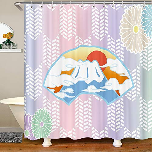 Loussiesd Japanese-Style Shower Curtain for Girls Boys Children Japanese Ukiyoe Bathroom Shower Curtain Set Hokusai Pattern Bath Curtain Fuji Mountain Waterproof Bathroom Curtains 180x210cm