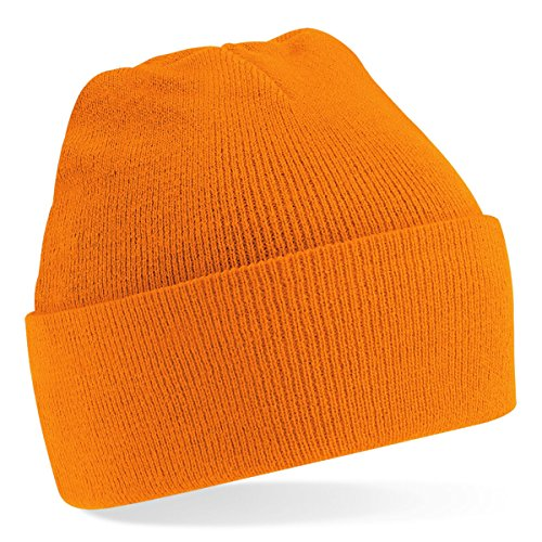 Beechfield Knitted hat with turn up in Orange