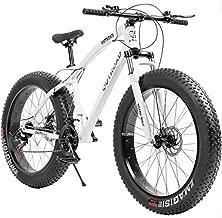 Outroad Fat Tire Mountain Bike 26 Inch Wheels Adult Bicycle, 21 Speeds Sand Trek Bike, Double Disc Brake Suspension Fork Big Tire Anti-Slip Bikes, White