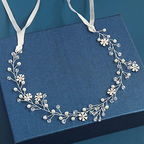 lkpoijuh Accesorios para el Cabello de la Boda DIEADA Tiara Flor HABITACIÓN Pelo Vid Mujeres Joyería de Pelo Accesorios de Pelo Nupcial (Metal Color : 34cm Silver)