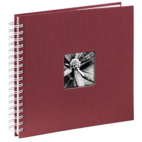 Hama Fotoalbum 28x24 cm (Spiral-Album mit 50 weißen Seiten, Fotobuch mit Pergamin-Trennblättern, Album zum Einkleben und Selbstgestalten) bordeaux