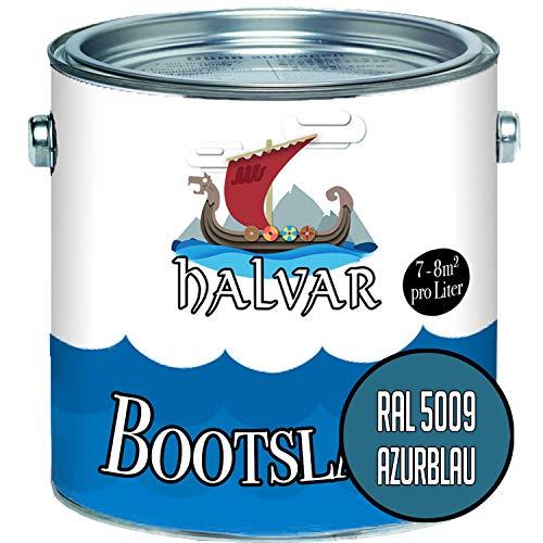 Halvar Bootslack Blau RAL 5000-5024 Yachtlack SEIDENMATT Bootsfarbe PU-verstärkt für Holz & Metall verstärkt extrem belastbar hochelastisch Schiffslackierung (2,5 L, RAL 5009 Azurblau)