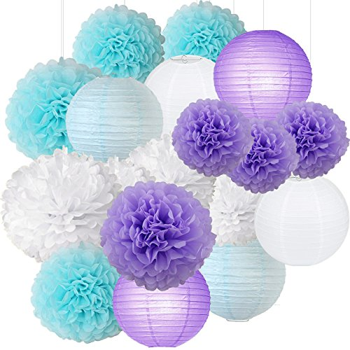Mermaid Party Decorations /Under the Sea Party 16pcs White Lavender Baby Blue 10inch 8inch Tissue Paper Pom Pom Paper Lanterns for Birthday Decor Baby Shower Decorations Frozen Party Supplies