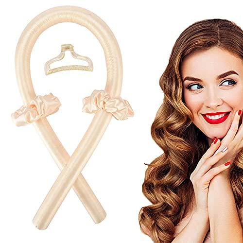 SunAurora Silk Hair Curler, Ribbon, Soft Foam Heatless Foam, rizadores sin calor, sin calor, herramientas de peinado DIY para pelo largo medio (blanco crema)