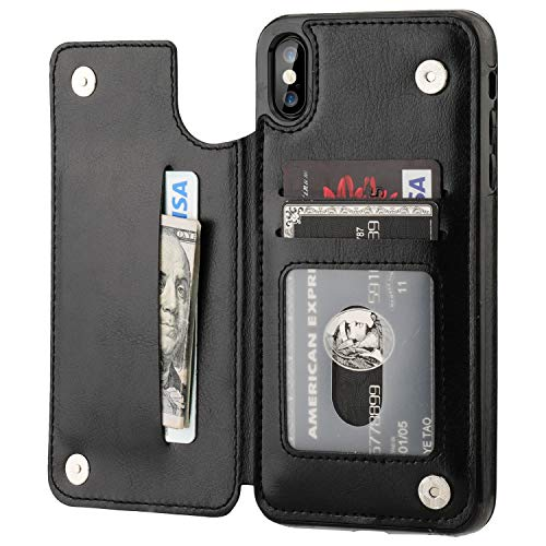 iPhone Xs Max Wallet Case with Card Holder,OT ONETOP Premium PU Leather Kickstand Card Slots Case,Double Magnetic Clasp and Durable Shockproof Cover 6.5 Inch(Black)