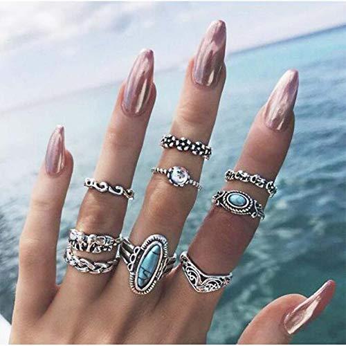 TseenYi Juego de anillos bohemios vintage de plata para nudillos, anillos de dedo con diamantes de imitación turquesa apilables, accesorios de mano para mujeres y adolescentes (patrón 3)