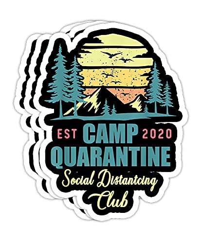 Camp Quarantine Social Distancing Club Funny Camping - 4x3 Vinyl Stickers, Laptop Decal, Water Bottle Sticker (Set of 3)
