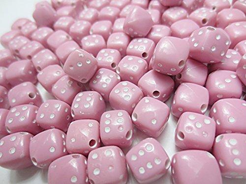 100個 サイコロアクリルビーズ  ダイス 9mm ピンク 手芸材料のヒューイ h547