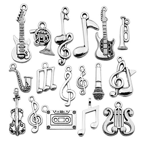 50pces Bulk Craft Supplies Instrument Silver Music Notes Charms Pendants for Crafting, Jewelry Findings Making Accessory for DIY Necklace Bracelet Earrings HM354