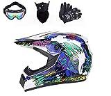 BDUCK Casco de motocross, de cara completa, para bicicleta de montaña y ciclomotor, protección de seguridad, para ATV, Downhill, BMX, cross, City (S (54 cm - 55 cm)